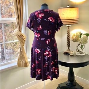 torrid Dresses - Torrid Purple Floral Faux Wrap Dress Size 2X